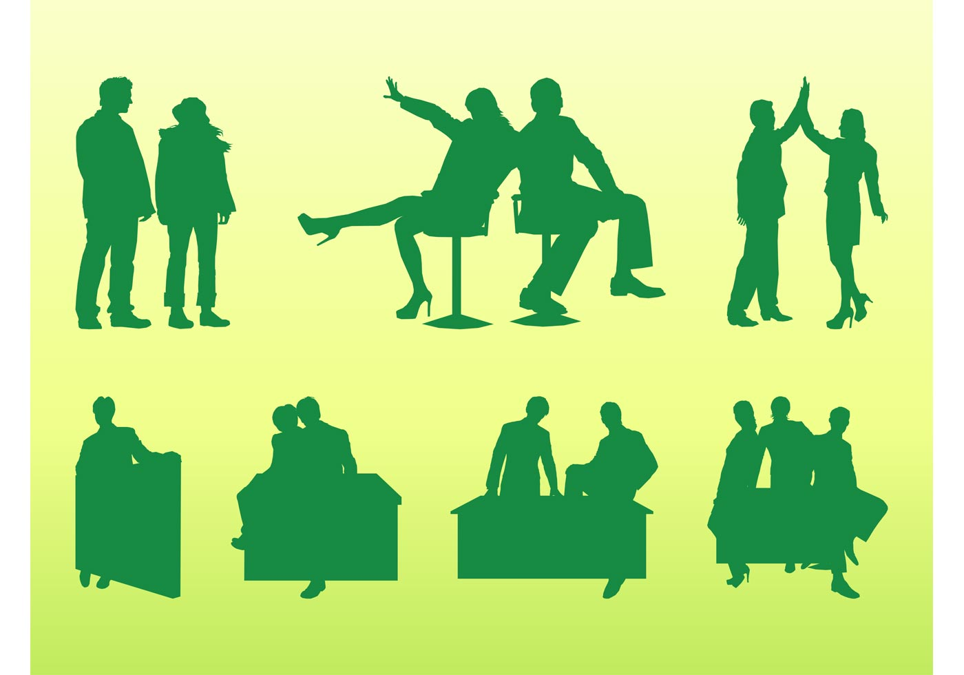 79112 Businesspeople Silhouettes Set
