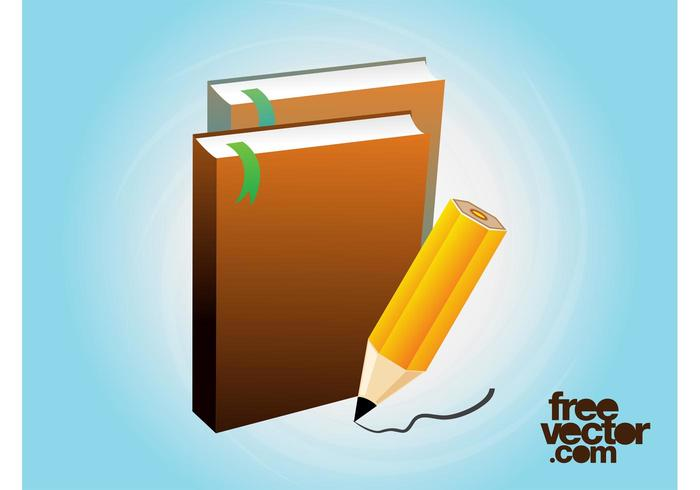 Books And Pencil Vector