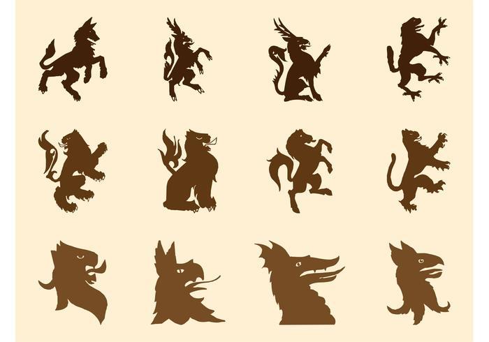 Heraldic Beasts Silhouettes