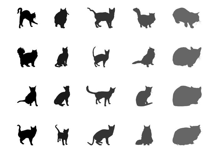 Ensemble de silhouettes de chat