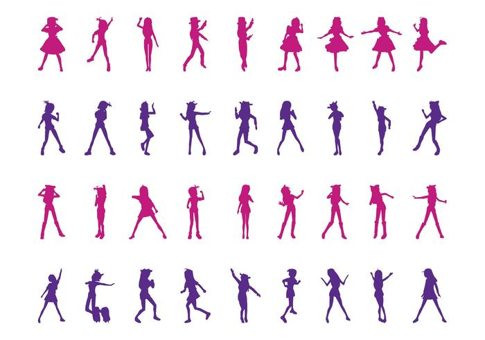 Dancing Girls Silhouettes Set