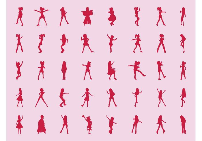 Girls Silhouette Set