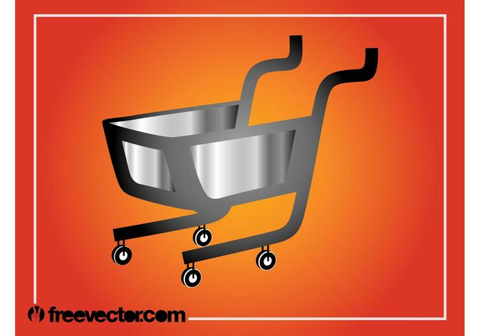 Silver Shopping Cart Graphics