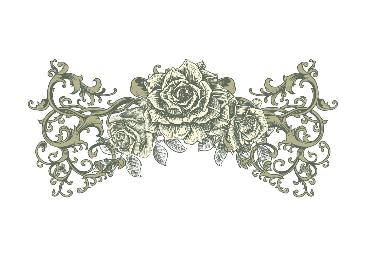 Disposición de la rosa del vintage - Descargue Gráficos y Vectores ...