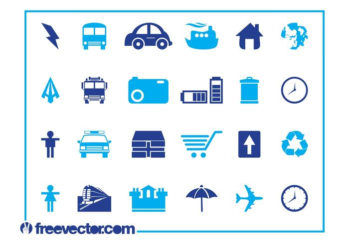 Blue Icons Set Graphics