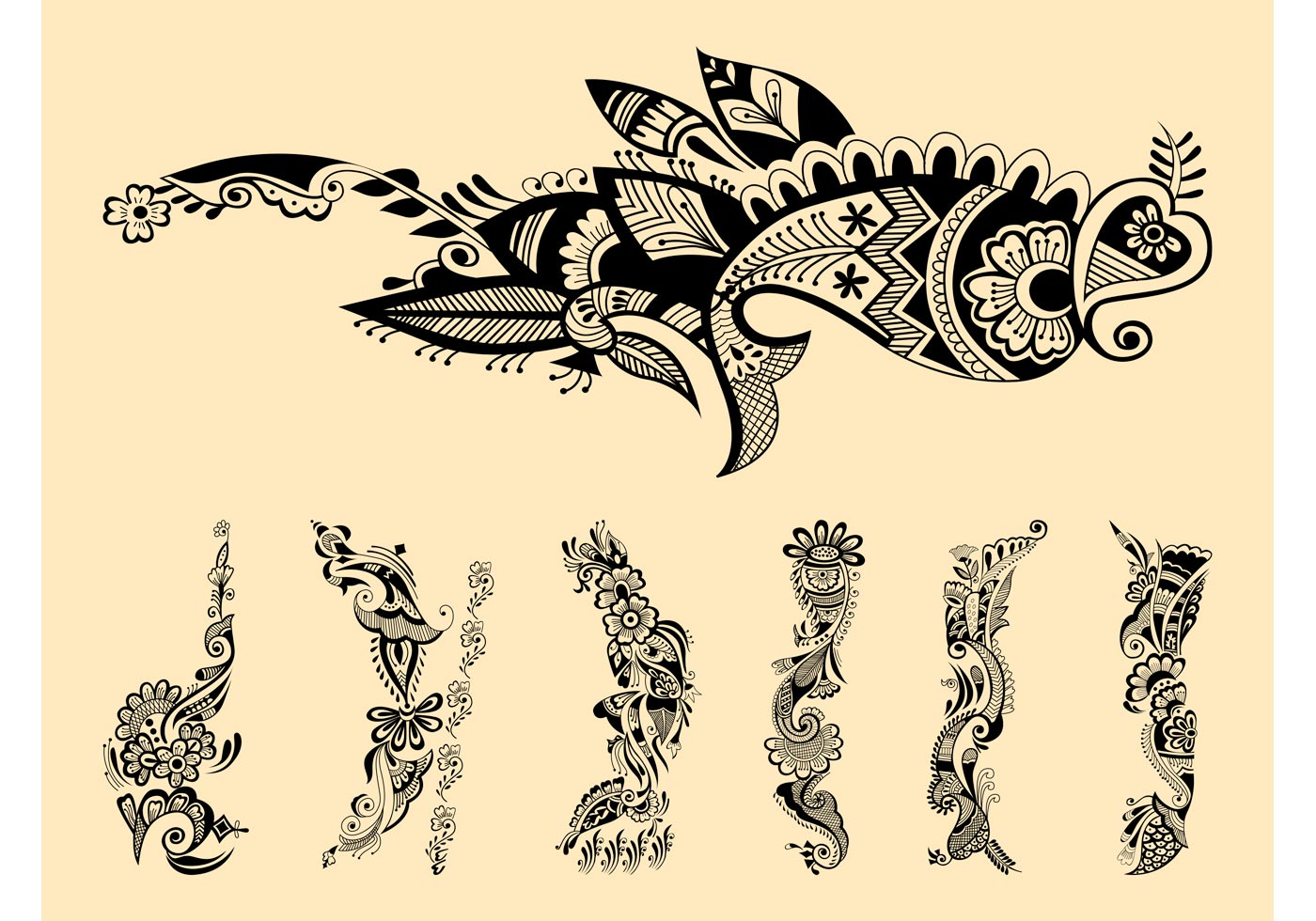Henna tattoos graphics download free vector art stock for Henna tattoo art