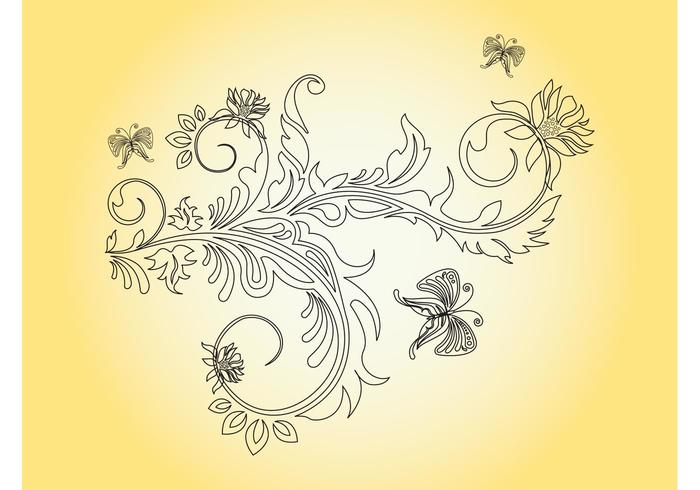 Flower And Butterflies Graphics