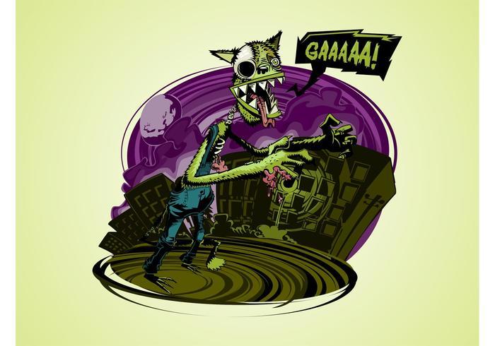 Cartoon Zombie Wolf