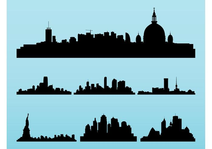 Cityscapes Silhouettes Set