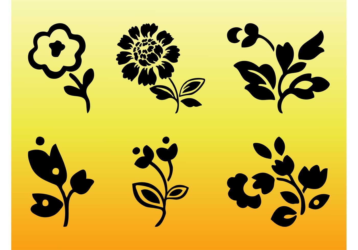 Vector Floral Silhouettes - Download Free Vector Art ...