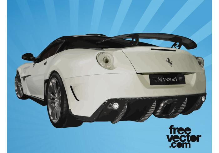 White Ferrari Rear