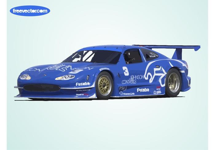 Blauwe Jaguar Raceauto vector