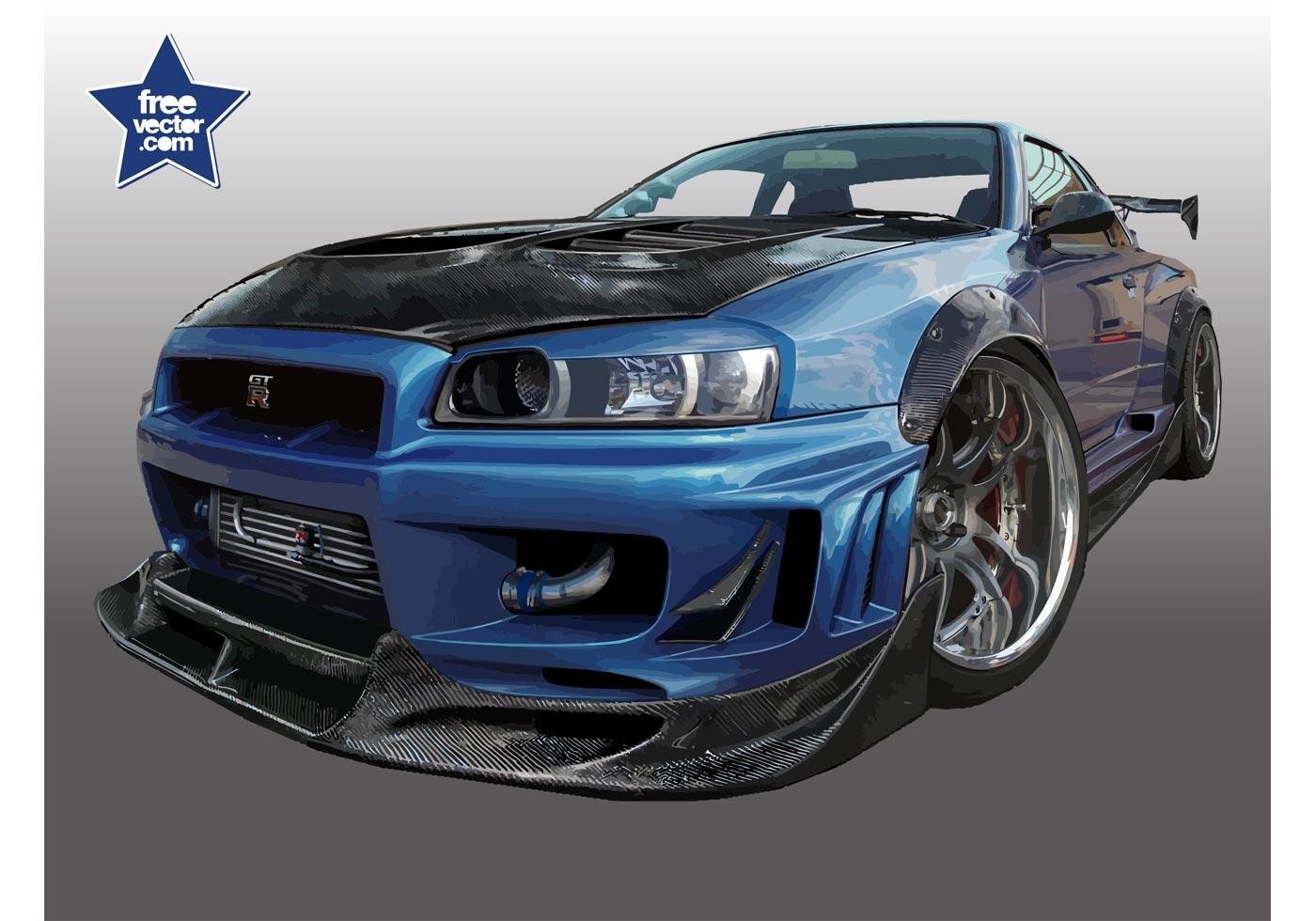 Nissan Gtr Free Vector Art 12 Downloads R35 Sketch