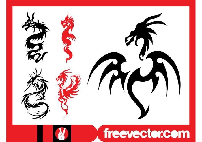 Dragon Tattoos Set