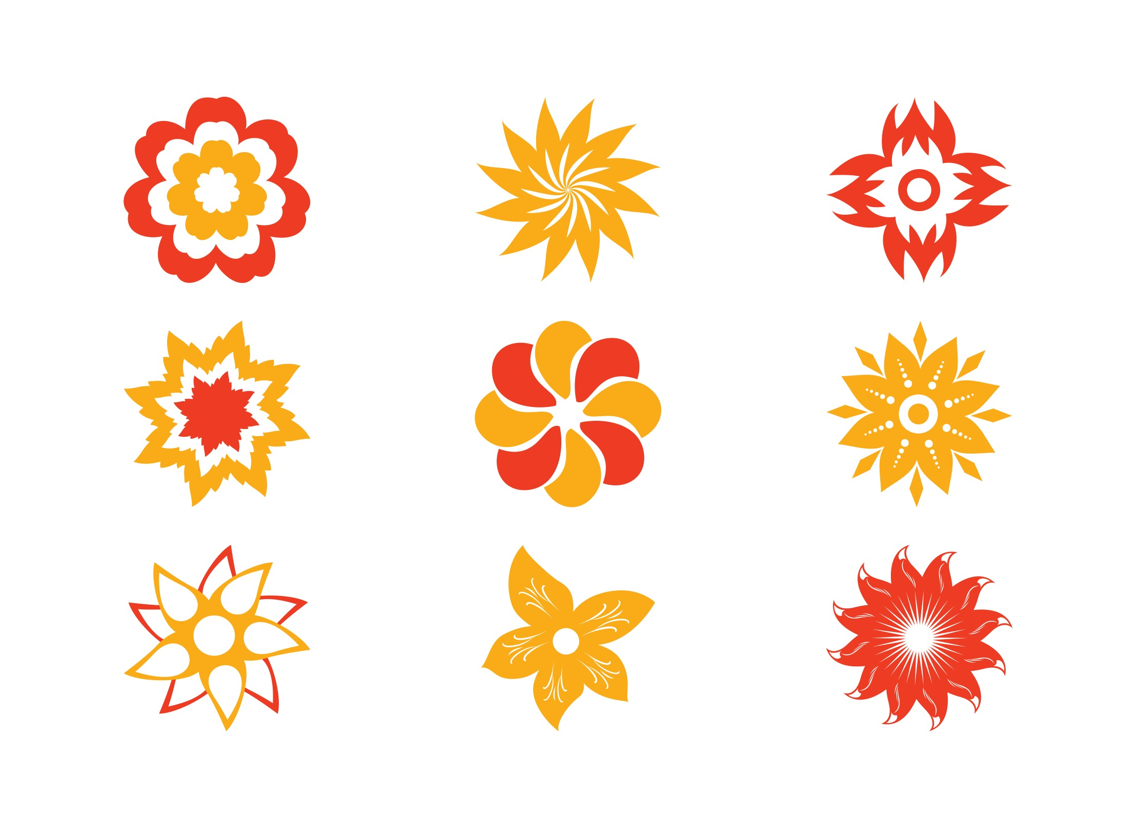 stylized flower blossoms set download free vector art