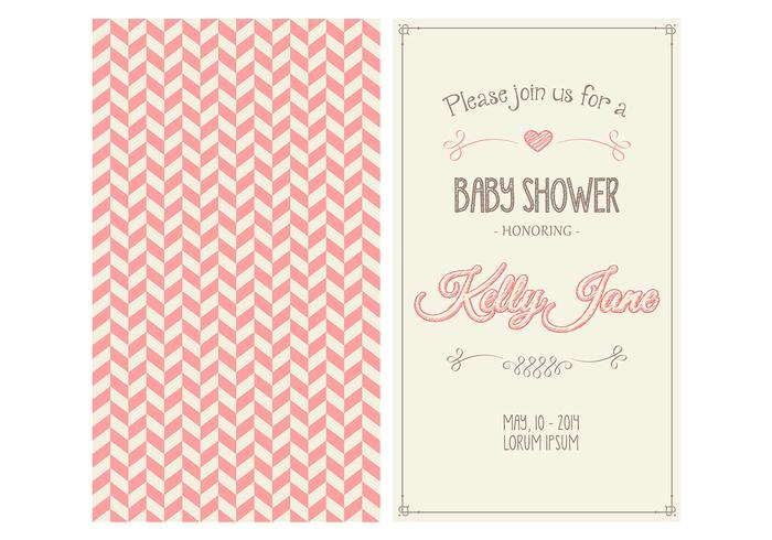 baby girl shower invitation vector download free vector art stock