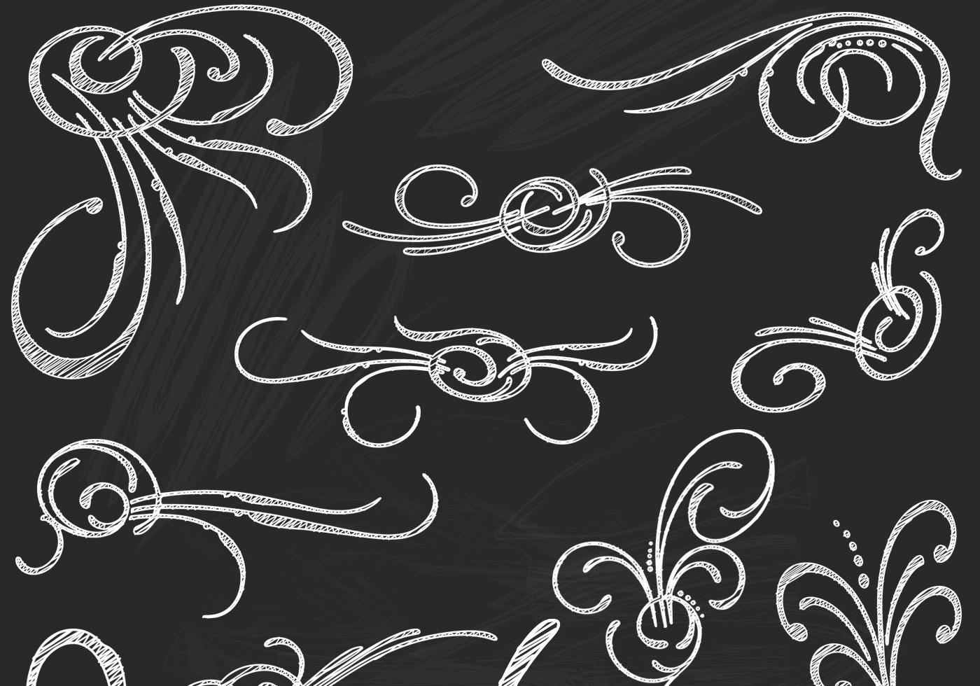 Chalk Drawn Flourish Elements Vector Pack Download Free