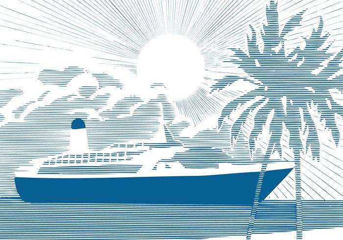Cruise Ship Background Vector