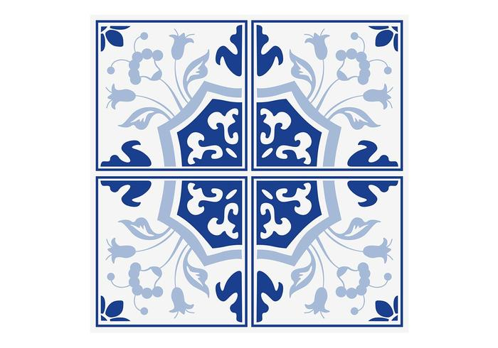 Delft Blue Floral Tiles Vector