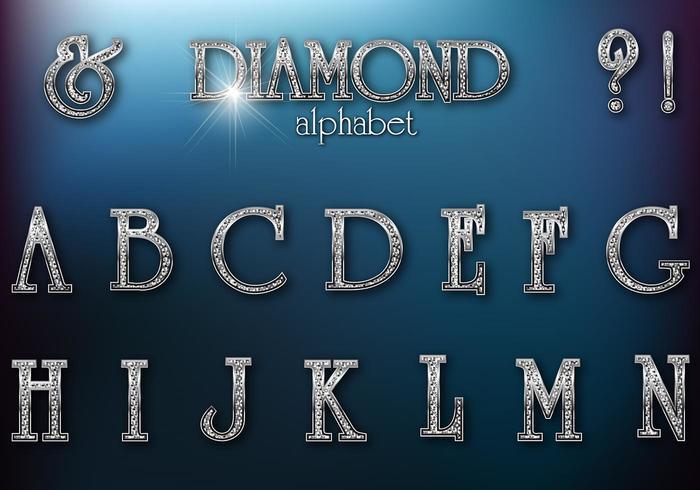 Diamond Studded Retro Alphabet Vector
