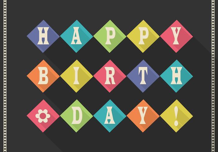 Flat Retro Happy Birthday Card Vector