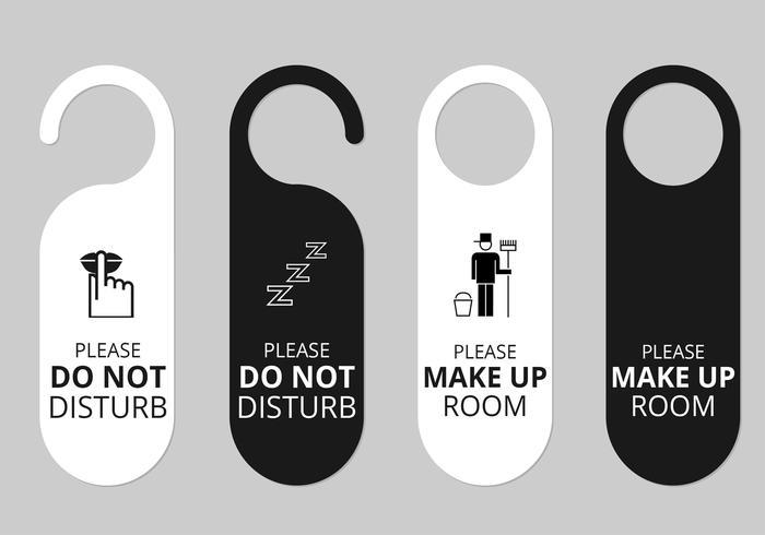 Conjunto de vectores de etiquetas de suspensión de puerta de hotel
