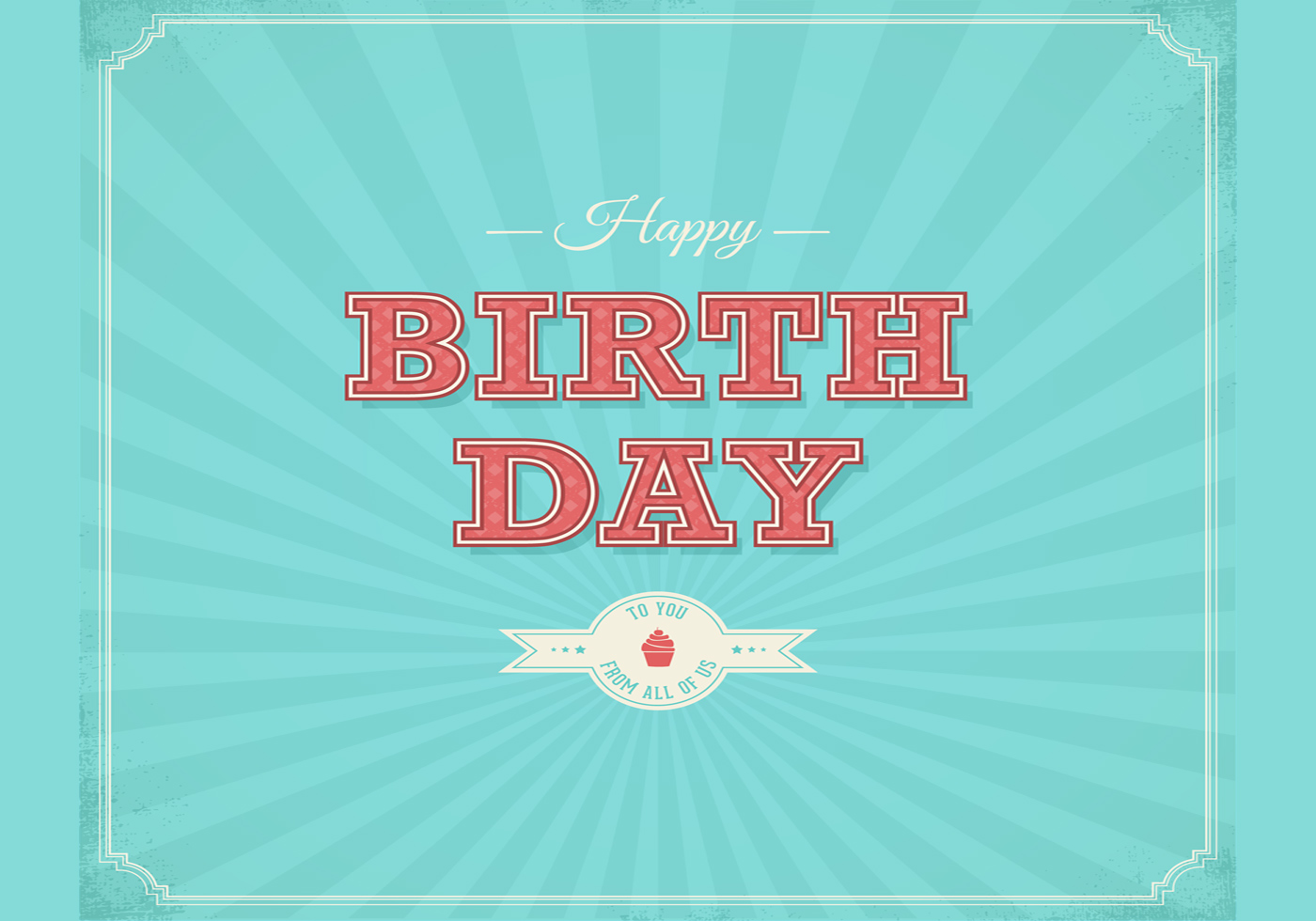 Retro Happy Birthday Typographical Background Vector