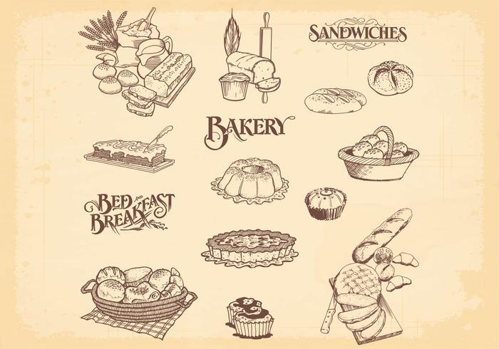 Vecteurs de pain à la boulangerie à la main