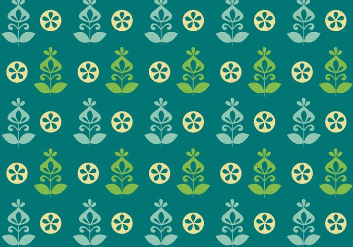 Teal Green Retro Flower Vector Pattern