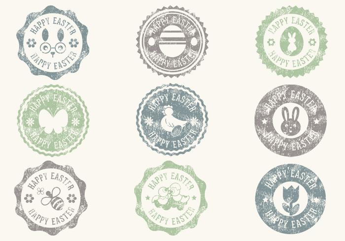 Grungy Easter Badge Vectors