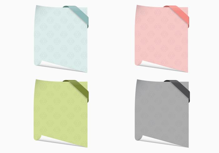 Curled Patterned Note Papers Vector Set