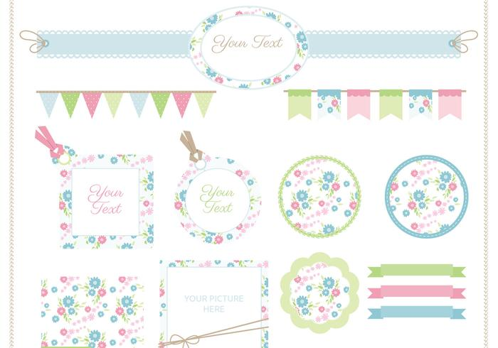 Ensemble de vecteur floral Scrapbook
