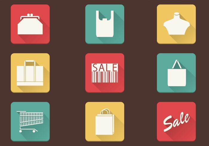 Enkel Shopping Ikoner Vector Pack