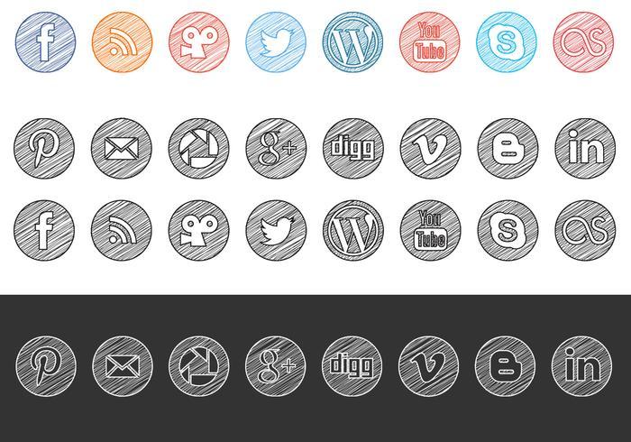 Schetsmatig getekende sociale media iconen vector pakket