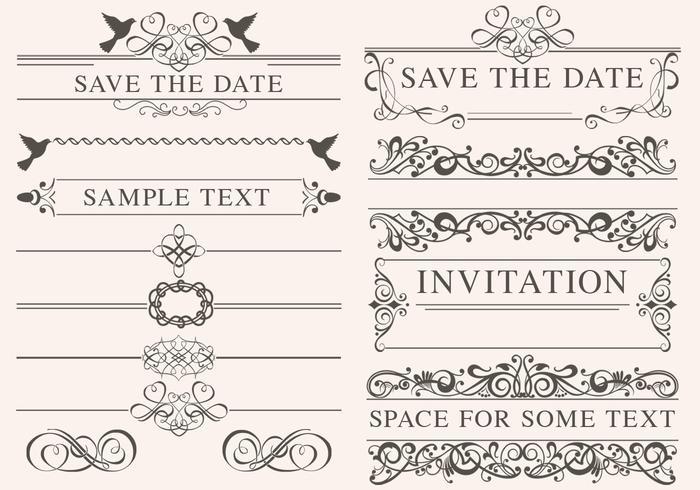 Tappning bröllopsprydnad vektorer