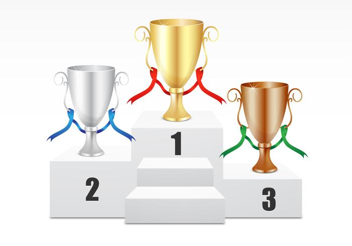 Gold, Silver, Bronze Trophy Vector Set