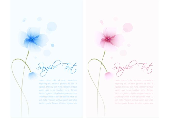 Waterverfde Flower Banner Vector Set