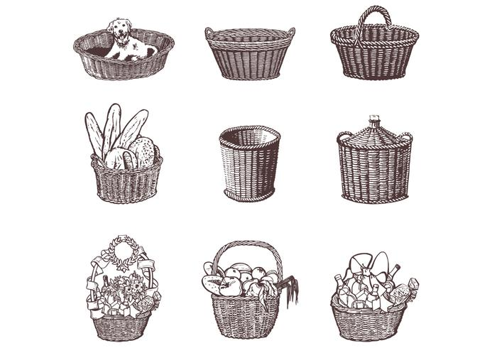 Drawn Wicker Baskets Vector Set
