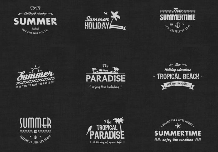 Vintage vectores de la insignia de verano