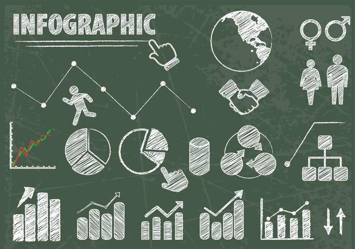 Chalk Drawn Infographic Elements Vector Set