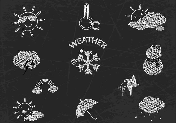 Chalk Drawn Weather Icons Vector Set