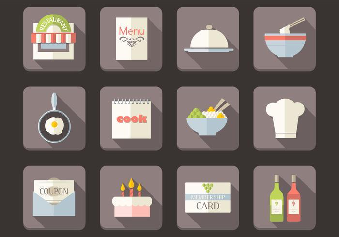 Flat iconos de restaurante conjunto de vectores