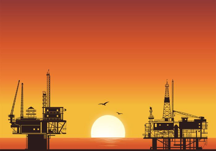 Sunset Oil Rig Background Vector
