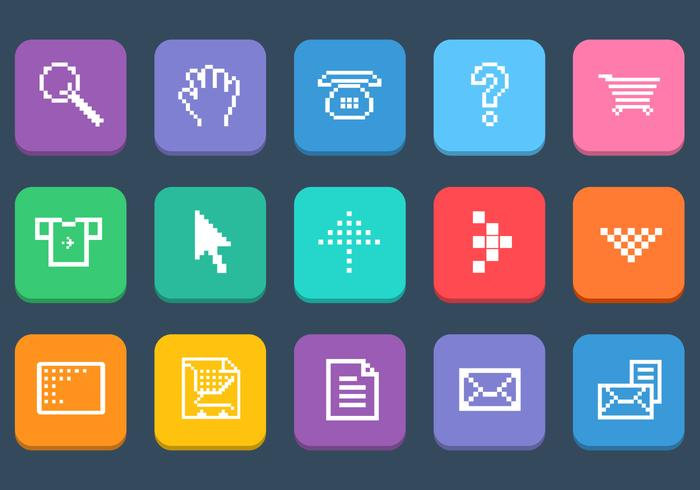 Various Pixel Web Icons Vector Set
