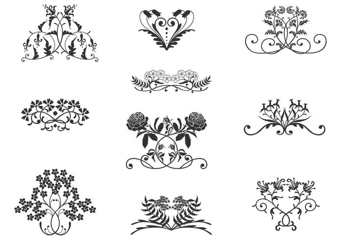 Vintage Floral Ornaments Vector Pack