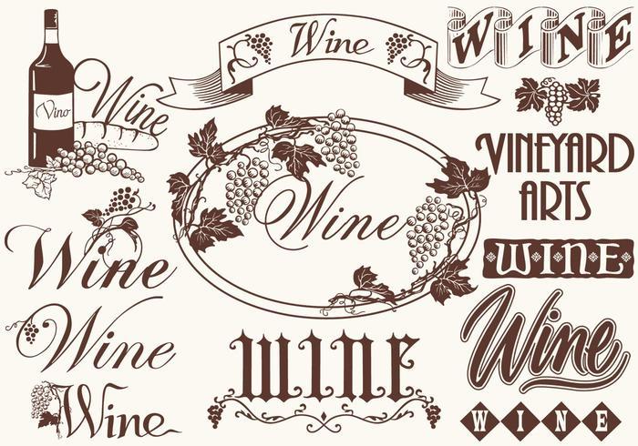Vintage Wine Elements Vectors