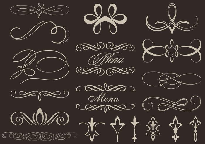 Kalligrafische ornamentvectoren