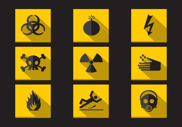 Danger Warning Flat Icons Vector Collection