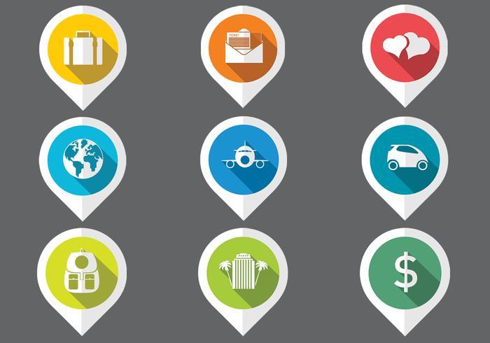 Set de carte de pointeur plat voyage icônes vectorielles