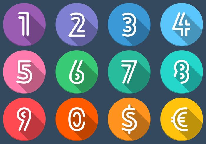 Flat Number Icons Vector Set